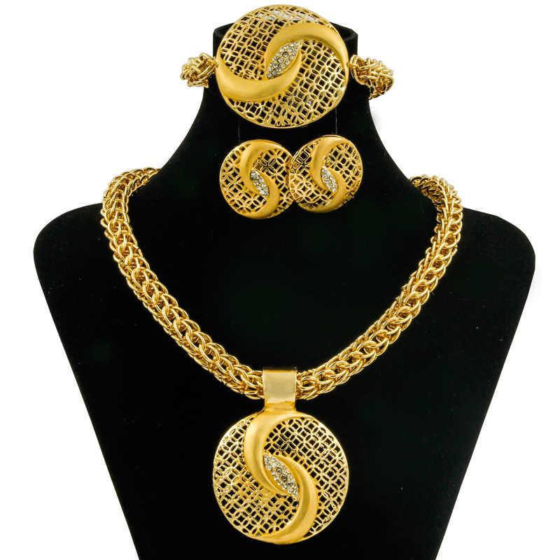 חדש 2017 קסם אופנה תכשיטי נשים תליון עגול גביש גדול שרשרת סט תכשיטי זהב דובאי האפריקאי אביזרי כלה