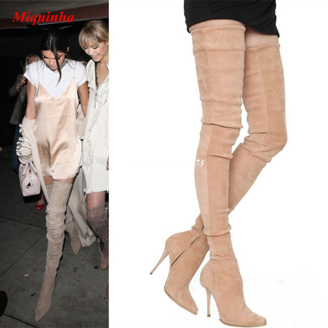 0a257487270 Beige Suede Thigh High Boots 2017 Crazy Slim Legs Long Boots Stretch  Leather Shoes Woman Boots Stiletto High Heels Women Boots