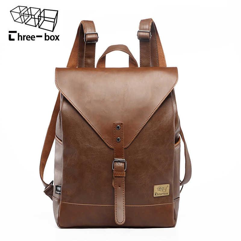 98e714aa09fd Три-коробка Большой Ёмкость Винтаж кожа Для мужчин рюкзак мода школьная  сумка дорожная Твердые Сумка