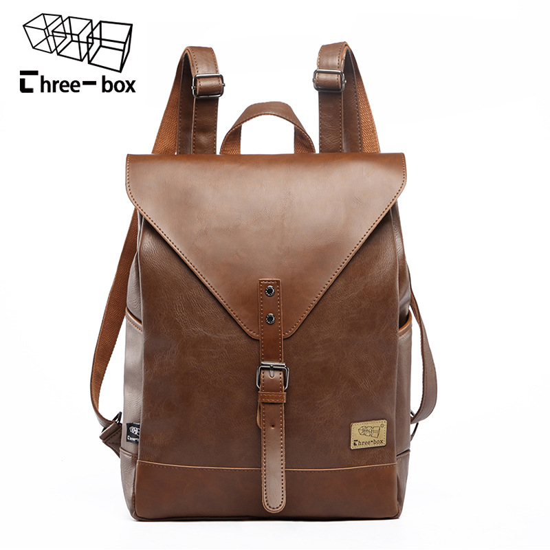 Three-box Large Capacity Vintage Leather Men Backpack Fashion School Bag Travel Solid Bag Business Mens Laptop Daypacks Mochila new men s pu leather solid business backpack fashion casual travel high capacity