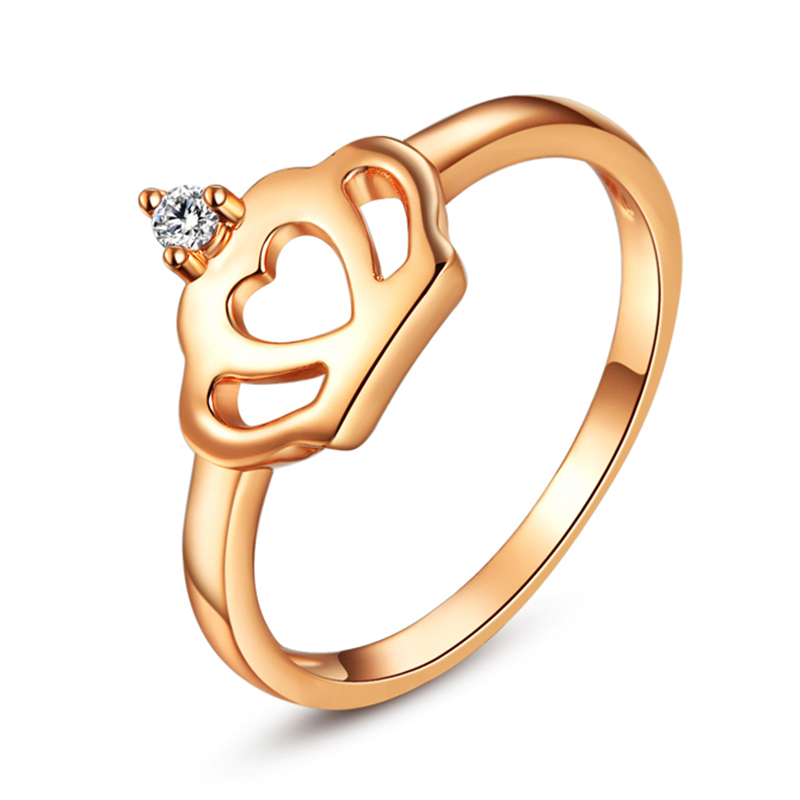 Female Fashion Austrian Crystal Finger Jewelry Rose Gold Simple