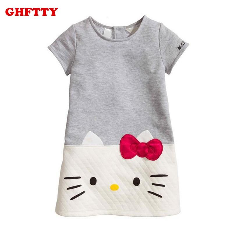 Hello Kitty zīdaiņu meiteņu kleitas Bērnu apģērbi 2018 bērnu kleita meitenēm drēbēs Princese kleita Ziemassvētku vetementa filejas kokvilna