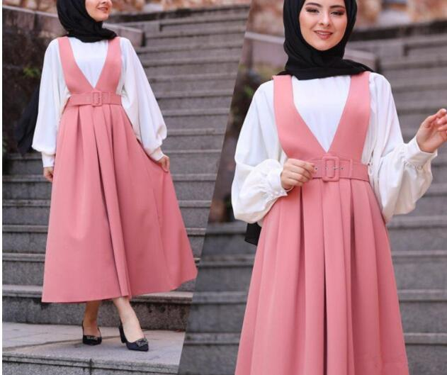 Fashion High Waist  Straps Skirt Women Muslim Bottoms Big Swing Long Skirts With Belt Party Ramadan  Middle East Islamic Clothes