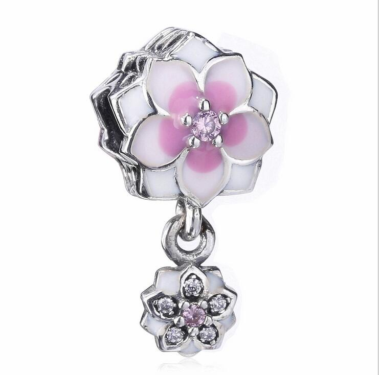 100% 925 Sterling Silver lotus Rhinestone Enamel Pendant Beads Fits Pandora Style Charm Bracelets & Necklaces DIY Jewelry making