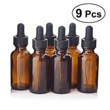 9pcs 30ml Refillable Empty Amber Bottle With Dropper And Cap Massage Essential Oil Aromatherapy Liquid Glass Pipette Bottles