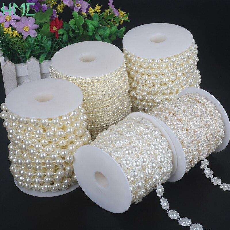 Fio de pérolas e pérolas para decoração, imitação de abs, marfim, corrente, fio para decoração diy, festa de casamento, achados, acessórios, artesanato