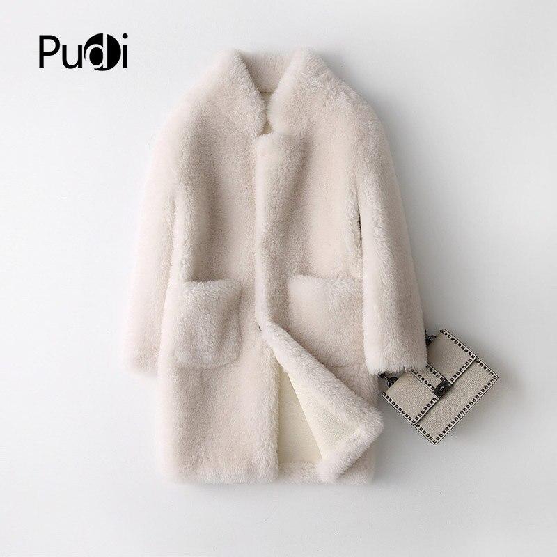 PUDI A17833 Réel manteau de fourrure de Laine veste manteau femme hiver chaud manteau de fourrure véritable en cuir PU à l'intérieur de couleur crème
