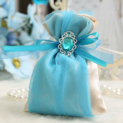 Wedding Favour Gift Bags: Satin Gift Bag, Candy Box, D 2 L 001,wedding Favors And