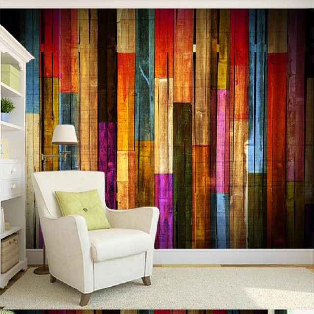 Mural Wallpaper Custom Any Size Background Photography Colored Wood Stripes  Bathroom Wall Painting For Living Room