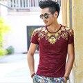Высокое качество 2016 модные топы мужчины свободного покроя мужская летняя одежда бренд класса люкс футболка мужская с коротким рукавом рубашка