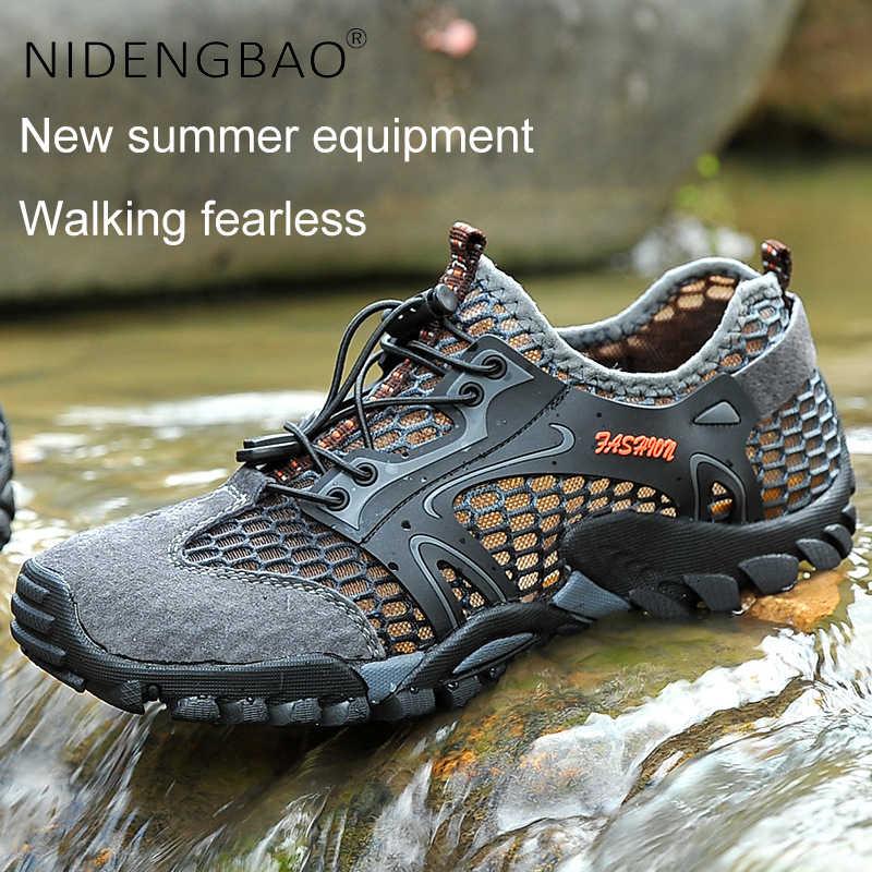 ฤดูร้อนรองเท้าผู้ชาย Breathable กีฬารองเท้ากลางแจ้งชายลื่นรองเท้าผ้าใบขนาดใหญ่ 39-50 Beach รองเท้าสำหรับว่ายน้ำ
