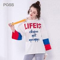 PASS Autumn Women T Shirt 2017 Fashion Letter Print Striped Color Shirt Women White Contrast Color