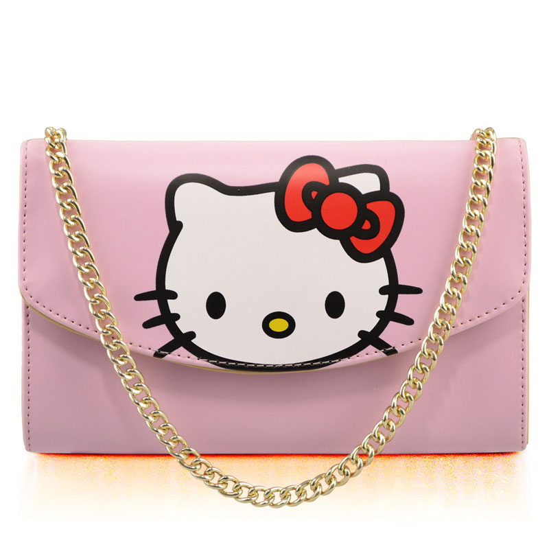 Girls HelloKitty PU Leather Cell Phone Female Bag Doraemon Long Shoulder Pocket Wallet Pouch Metal Neck Strap Clutch Bag Handbag