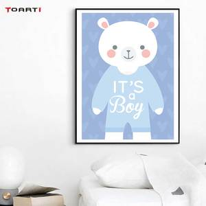 Image 4 - Cartoon Animals Elephant Prints Posters Baby Funny Quotes Canvas Painting On The Wall Kids Nursery Bedroom Art Picture Home Deco