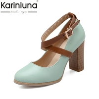 Karinluna New Spring Autumn Big Size 34 43 Elegant Women Ankle Strap Pumps Shallow Super High Chunky Heels Shoes Woman