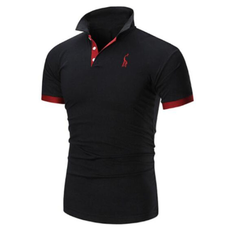 Mens T Shirt Brands 2018 Male Short Sleeve Casual Slim Solid Color Embroidery Deer Pattern T-Shirt Men 5XL