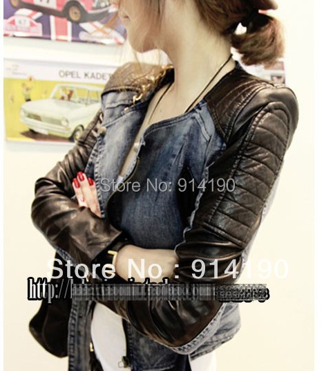 2015 autumn women's fashion cardigan casual patchwork leather slim zipper denim coat short jacket Leather & Suede