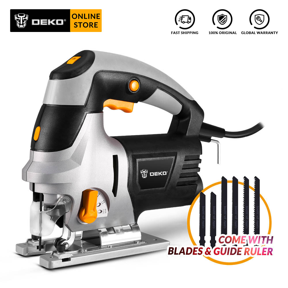 DEKO QD6609 800W Jig Saw with Laser Guide 6 Variable Speed Electric Saw with 6 pcs Blades, Metal Ruler, Allen Wrench Power Tool