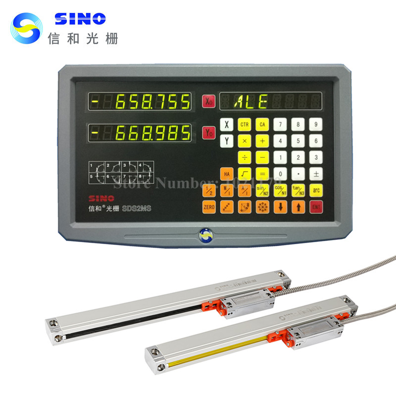 New Original Sino SDS2MS 2 axis digital readout DRO kit and 2 pieces SINO KA300 linear