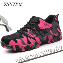 ZYYZYM Women Work Safety Shoes Steel Toe Casual Fashion Sneakers Lace up Outdoor Boots For