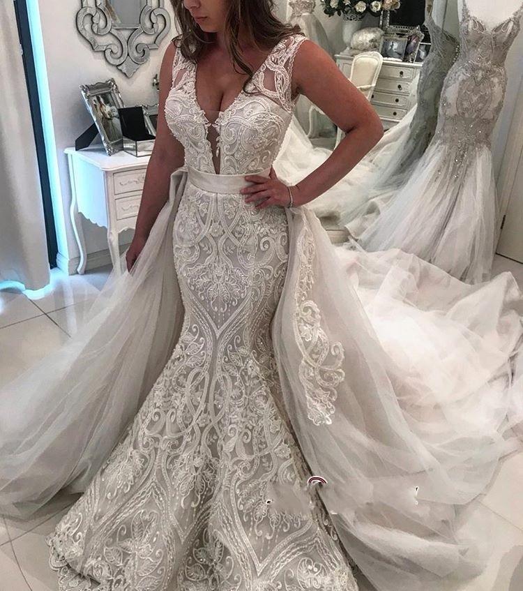 vestido de noiva Newest Lace Tulle Wedding Dresses Mermaid Style 2019 V-neck Sleeveless Appliqued Wedding Bridal Gown