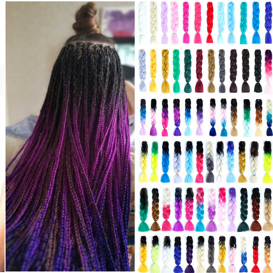 MUMUPI Ombre Afro Box Braiding Hair Jumbo Braids Synthetic Hair for Crochet Braids False Hair Extensions headwear