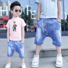 Freeship Fashion Children Cross-pants Summer Boys Jeans 2017 New Loose Hole Denim Short Pants Light Blue Calca Jeans Masculina