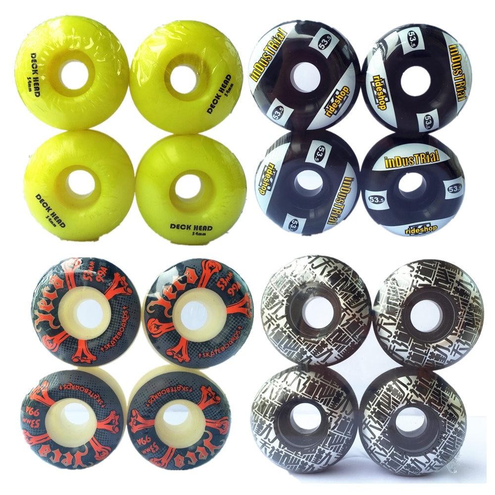 4pcs Pro Skateboard Wheels 52mm 101A Double Rocker Skate Wheels  PU Downspeed Sliding Wheels