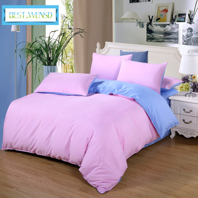 Best Wensd Solid Color Bed Linen Pillow Covers Luxury Bedding Set King Size Quilt Cover Bedclothes Duvet Jogo De Cama