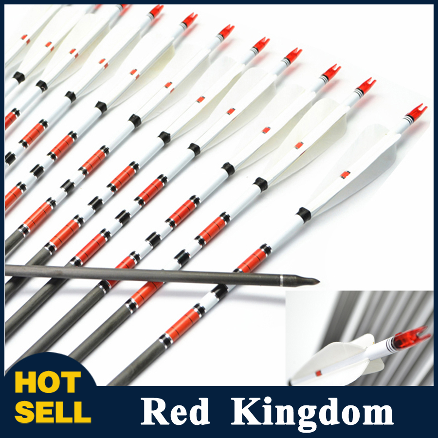 6/12 pcs Pure Carbon Arrow 4 pcs Turkey Feather 80cm Spine 600 Changeable Arrow Tip for Long/Recuvre Bow Archery Hunting wholesale archery equipment hunting carbon arrow 31 400 spine for takedown bow targeting 50pcs
