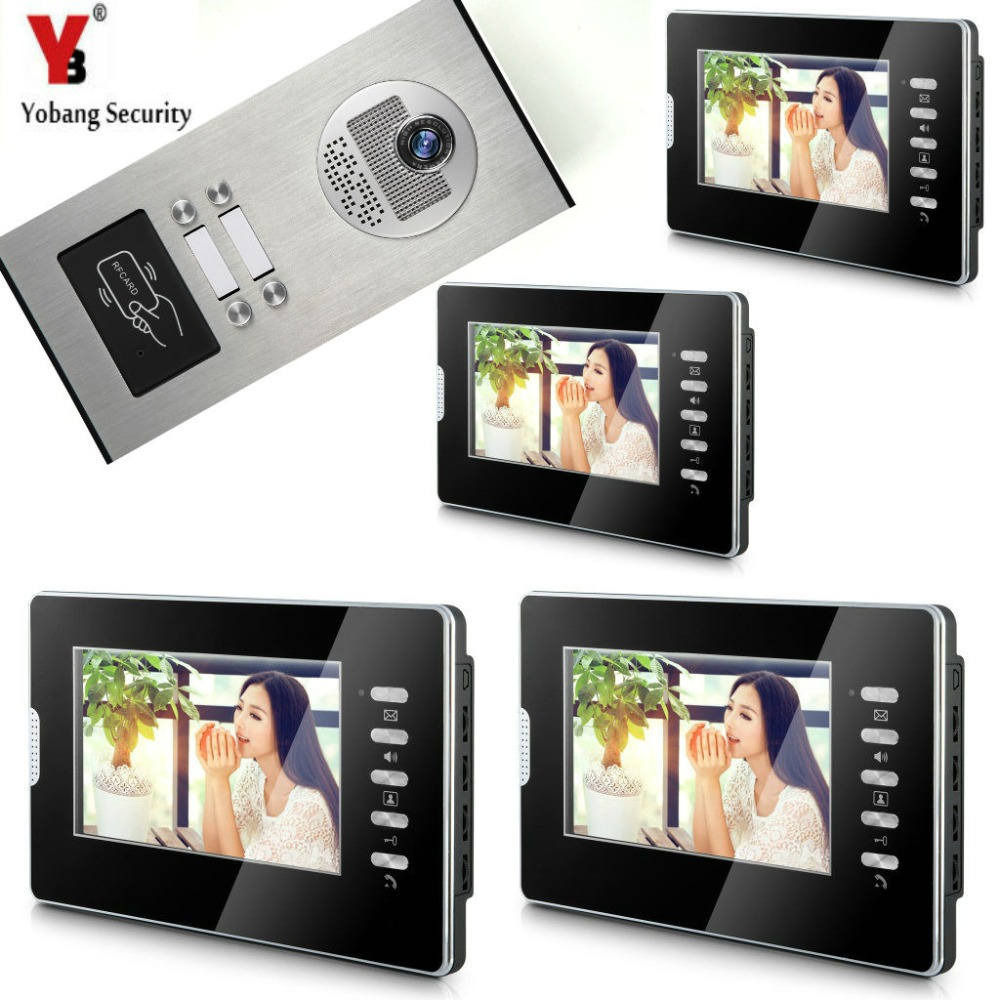 YobangSecurity Wired Video Door Phone 7Inch LCD Video Doorbell Door Chime Home Intercom System Kit With RFID Access IR Camera 7 inch video doorbell tft lcd hd screen wired video doorphone for villa one monitor with one metal outdoor unit night vision