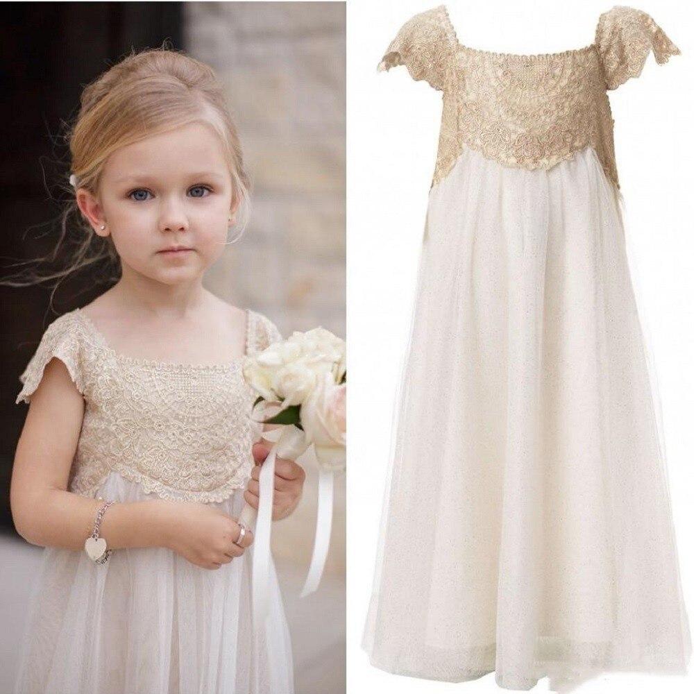 Hot Sale 2018 Ivory Flower Girl Dresses Scoop Neck Floor Length Appliques Lace Kids Wedding Party Gowns Communion Dresses grey scoop neck y back crochet lace trim top