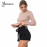 Yanueun 2017 Fall Winter New Women Fashion Knitted Basic Pullover Sweaters Lace Up Sleeve O Neck