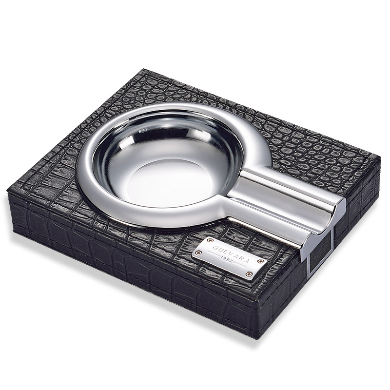 High-end Luxury Silvery&Golden Leather Stainless Steel Cigar Ashtray