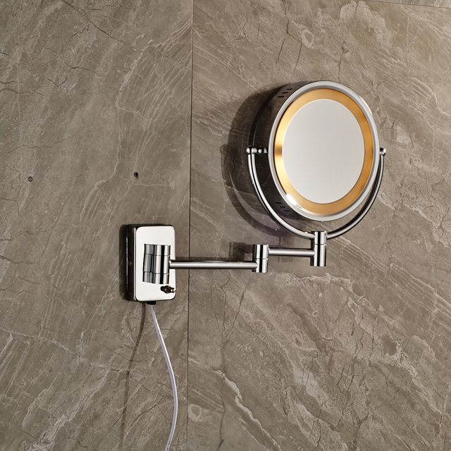 Luxury Chrome Brass Bathroom Cosmetic Mirror Magnifier Decorative Wall Mirrors with Light