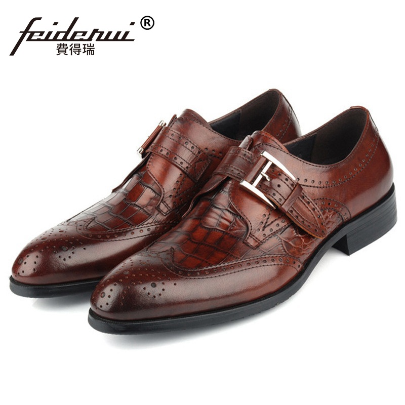Business Wing Tip Brogue Formal Man Dress Shoes Genuine Leather Crocodile Oxfords Luxury Brand Men's Footwear For Male EH92 ruimosi high quality wing tip man dress