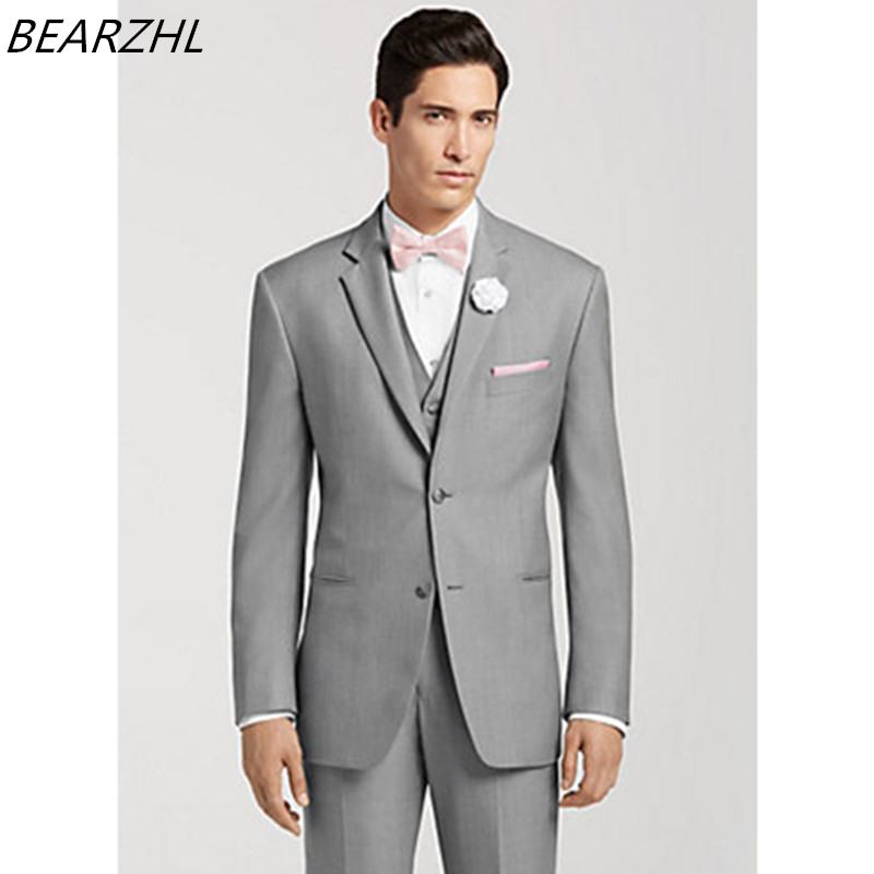 Men Wedding Suits Light Gray Tailor Suits For Man 3 Piece