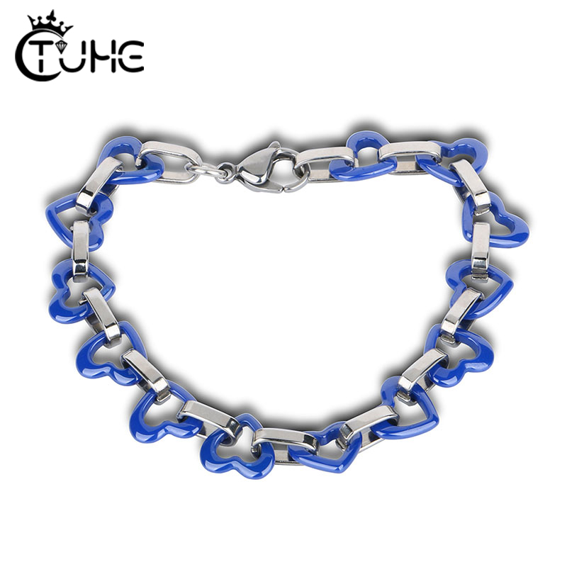 Blue Heart Link Heart Bangle Bracelet Gift New Fashion Women Ocean Blue Ceramic Bracelet Fashion Jewelry Female Gift bileklik