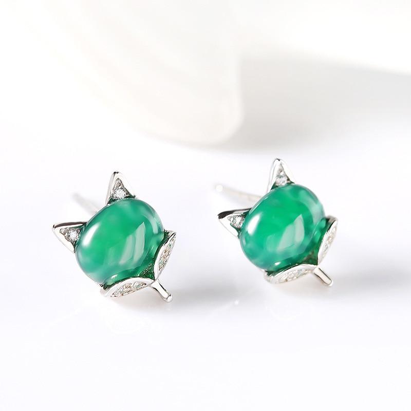 01e3290e2 FNJ 925 Silver Fox Earring Natural Green Stone 100% S925 Sterling Silver  boucle d'oreille Stud Earrings for Girl Women Jewelry