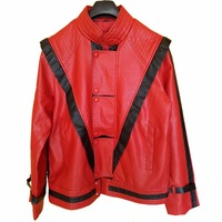 2018 MJ Cosplay Leather Coat Michael Jackson Costume Leather Thriller Red Jacket