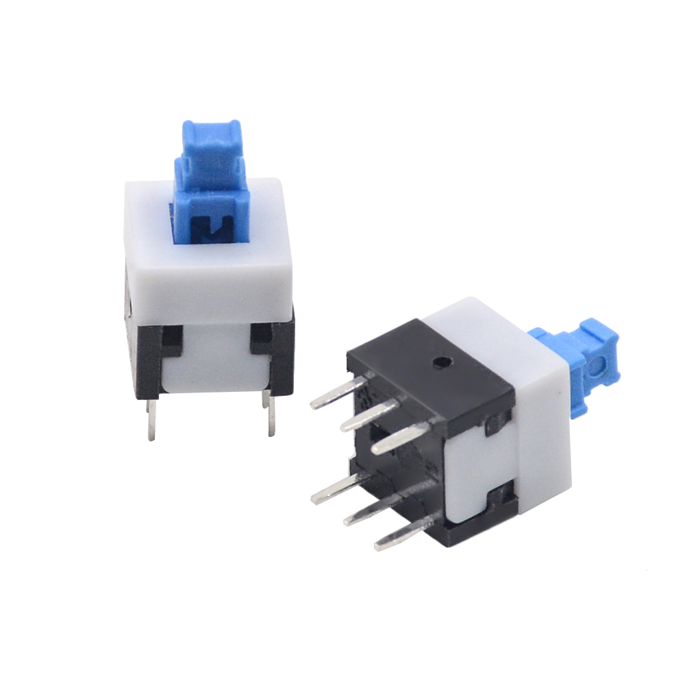 10/20/30pcs/lots 8X8mm Blue Cap Self-locking Type Square Button Switch 8*8 Mm 100000 Times Service Life