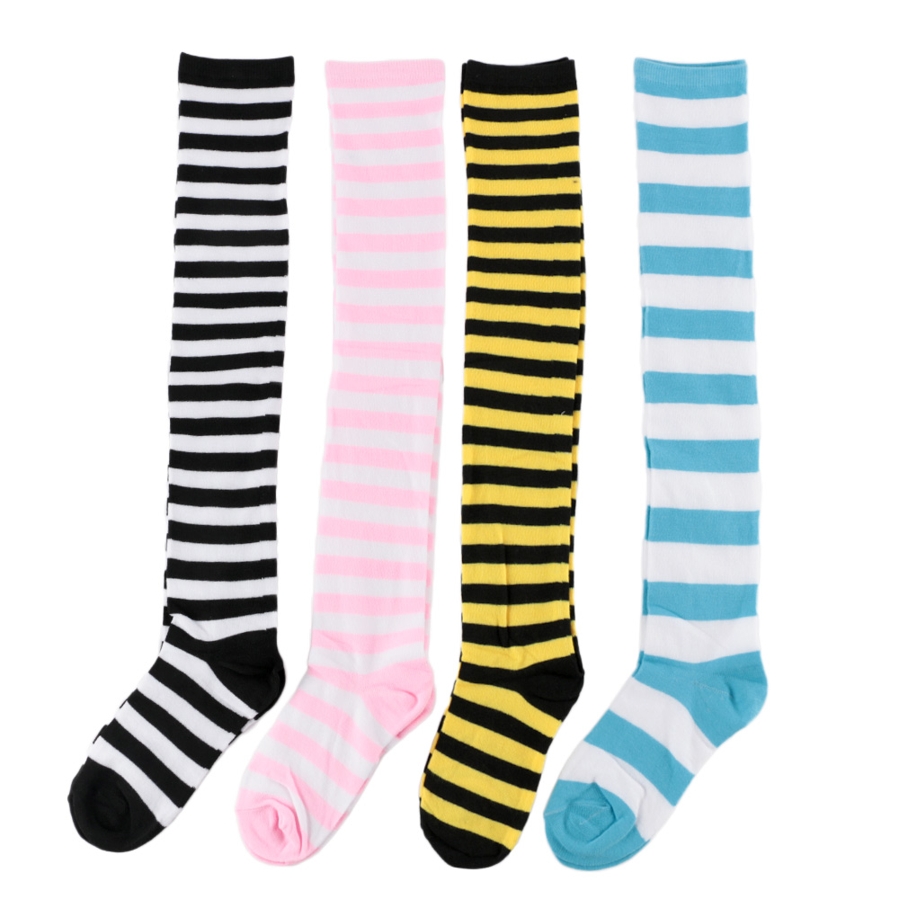 Buy yomorio knee high stockings cute anime cartoon printing thigh high socks. Fashion Cute Women Girls Cotton Long Striped Thigh High Stocking Anime Cosplay Over The Knee ...