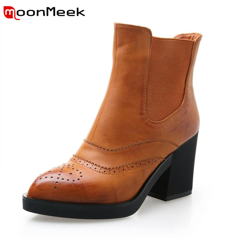 ФОТО Hot sale !  Mixed colors elastic band autumn mature women shoes thick highheels pointed toe spell able ankle boots