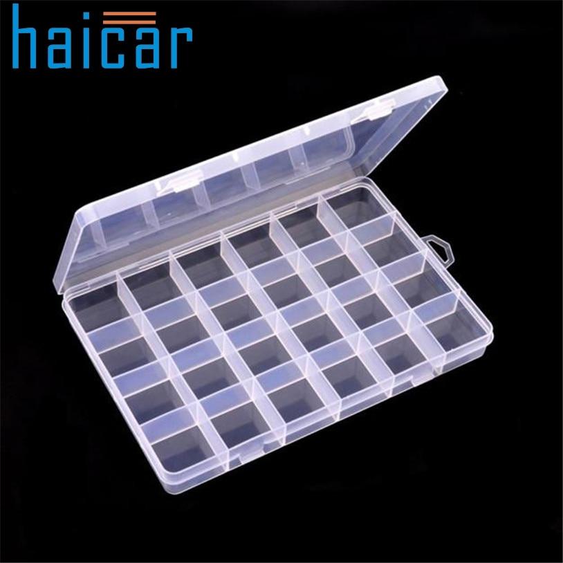 Haicar organizer Plastic 24 Slots Adjustable Jewelry Storage Box Case Craft Organizer Beads U70220 porta joias