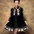 Mm2017 plus size clothing осень/зима верхняя одежда китайская национальная тенденция вышитые женские пальто на средние и длинные оптовая