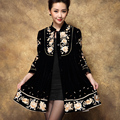 Mm2017 plus size clothing autumn/winter outerwear china national trend embroidered women's trench coat medium-long wholesale