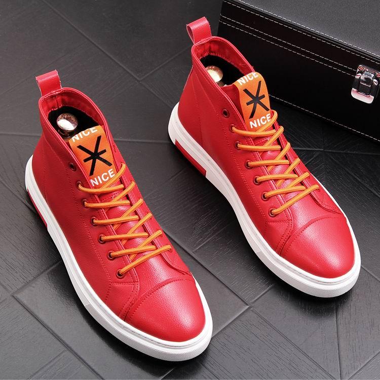 ERRFC zima nowy nabytek męskie białe buty na co dzień wysokiej góry sznurowane buty kowbojskie człowiek czerwony Hip Hop rozrywka trendów buty 38  43 w Buty motocyklowe od Buty na  Grupa 3