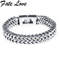 Fate Love 2017 New Arrival Stainless Steel Bracelet Men Fashion Rhombus Chain&Link 12mm Wrist Band Hand Chain Jewelry Gift GS790