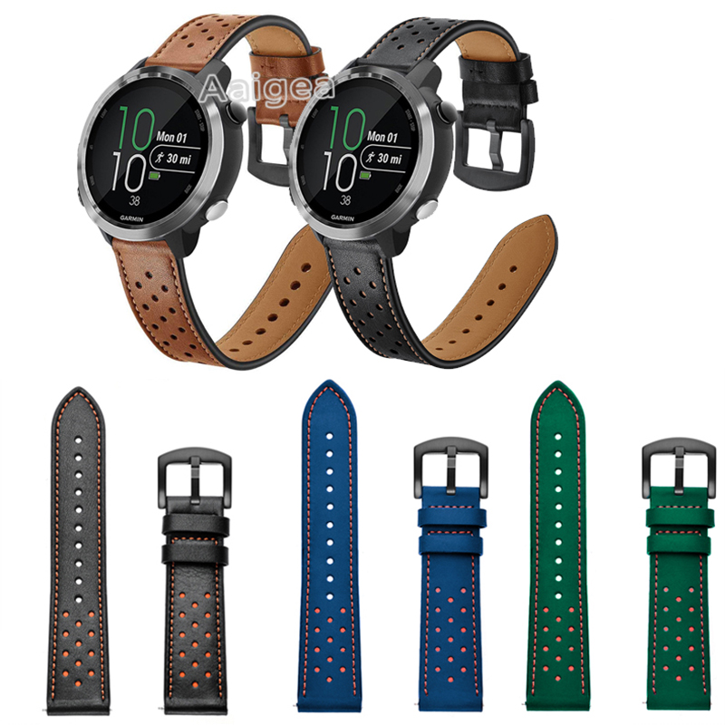 20mm Fashion Leather Watch Band Strap for Garmin Forerunner 645 Music 245 245M Replacement Wrist band strap Leather Bracelet|Watchbands| |  -