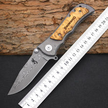 Survival Knife BROWNING Pocket Hunting Damascus Pattern Folding Blade Knife Huntting Tactical Knives Camping Outdoor EDC Tools 1